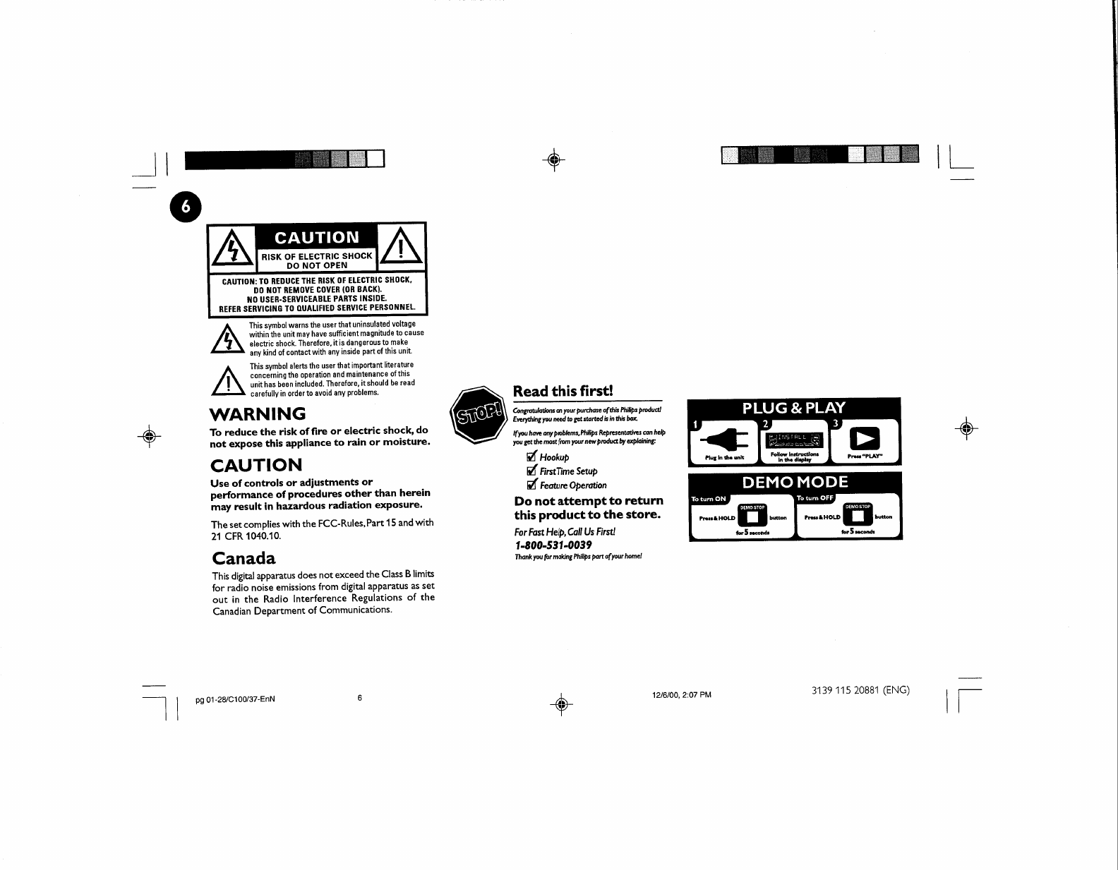 Page 11 of Philips Speaker System FW-C100 User Guide