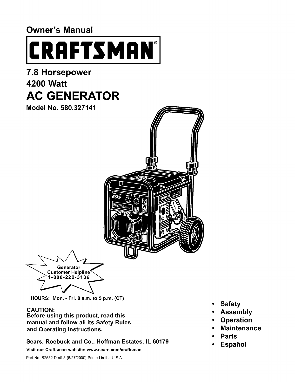 Craftsman Portable Generator 580.327141 User Guide