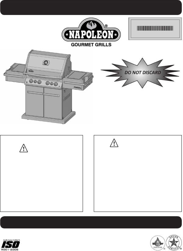 Napoleon Grills Gas Grill Pro 500 User Guide