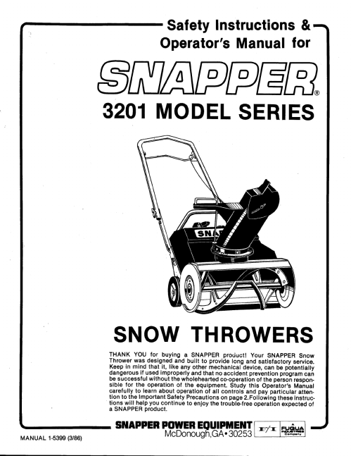 small resolution of snapper 3201 snow blower user manual