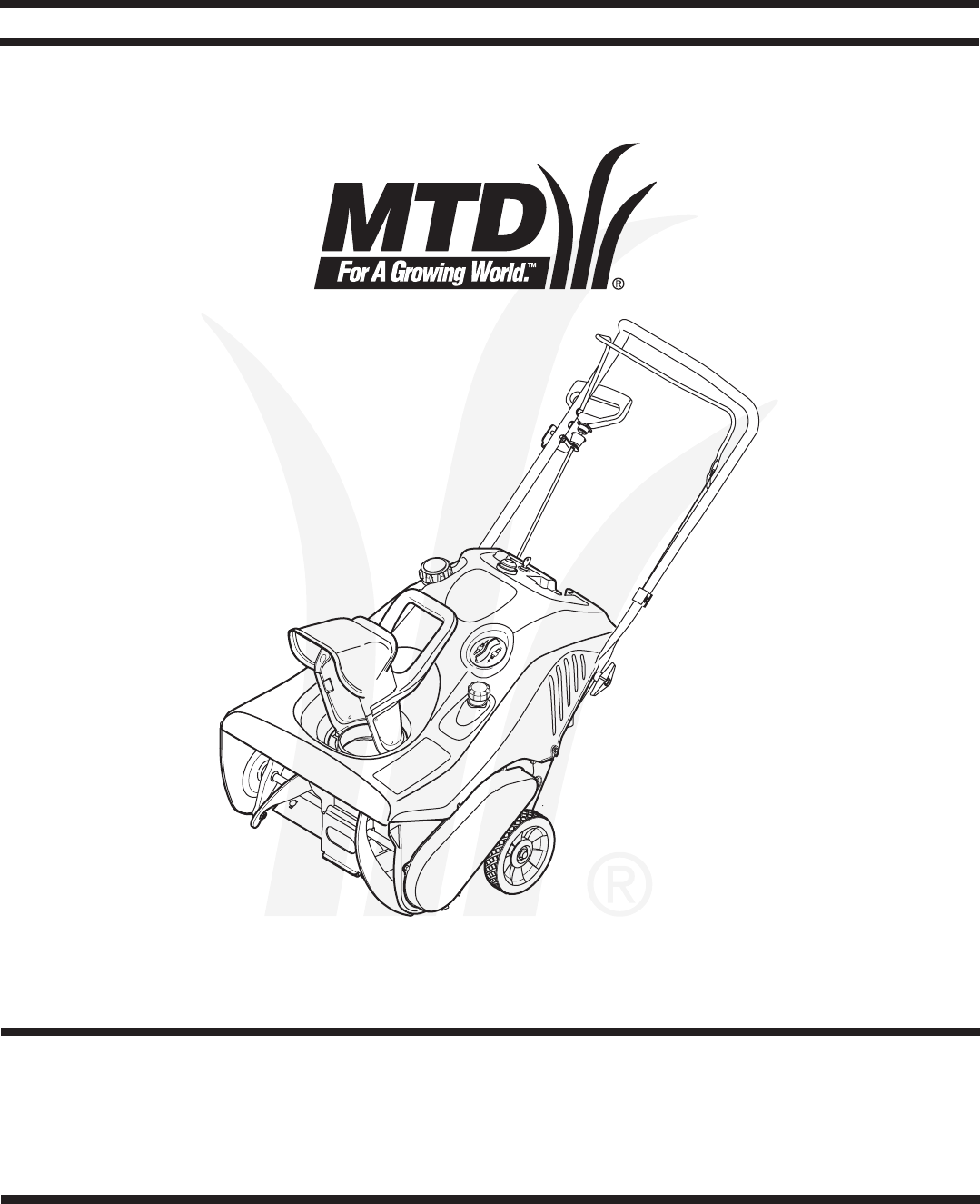 MTD Snow Blower Single-Stage Snow Thrower User Guide