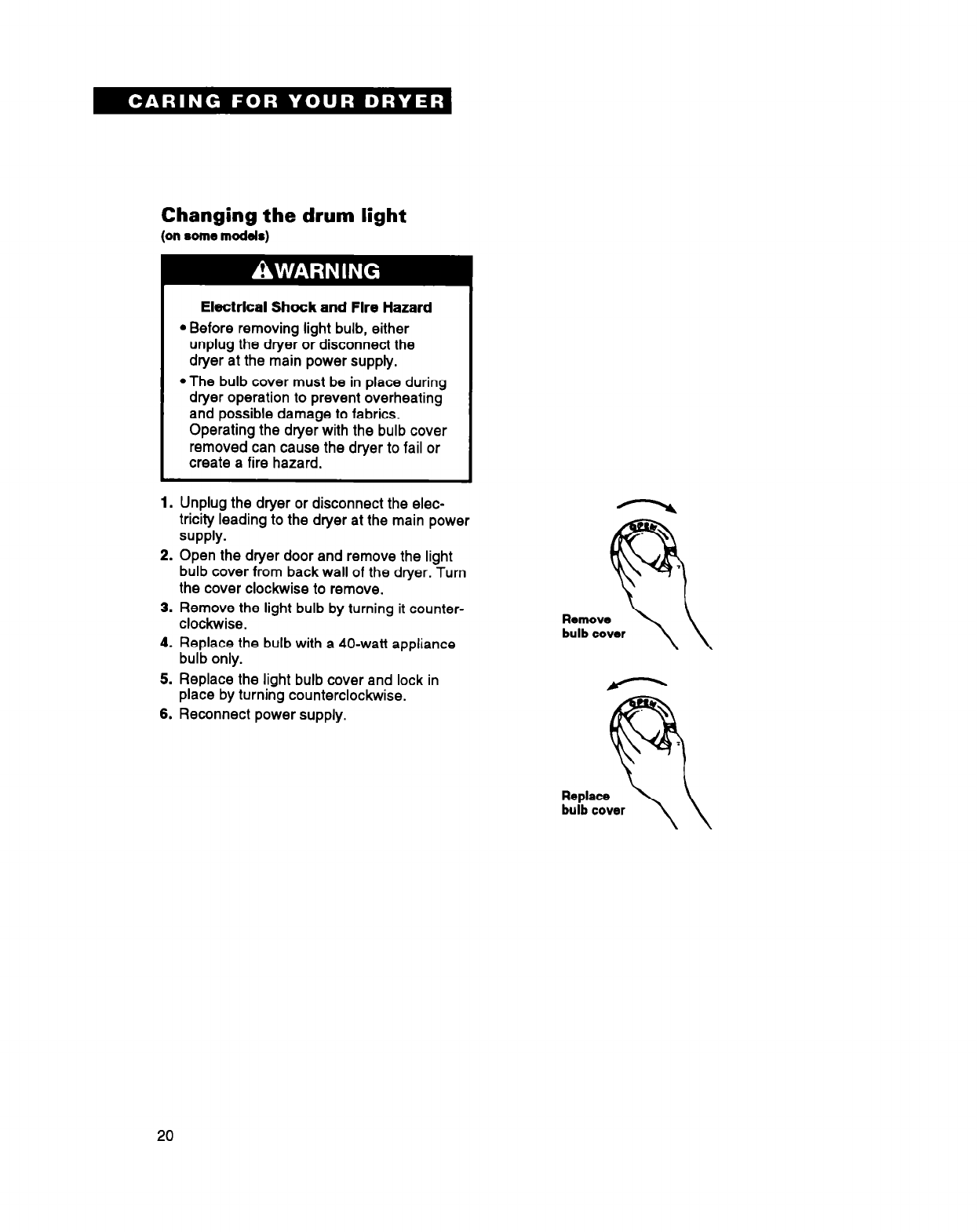 Page 20 of Whirlpool Clothes Dryer DRYERS User Guide