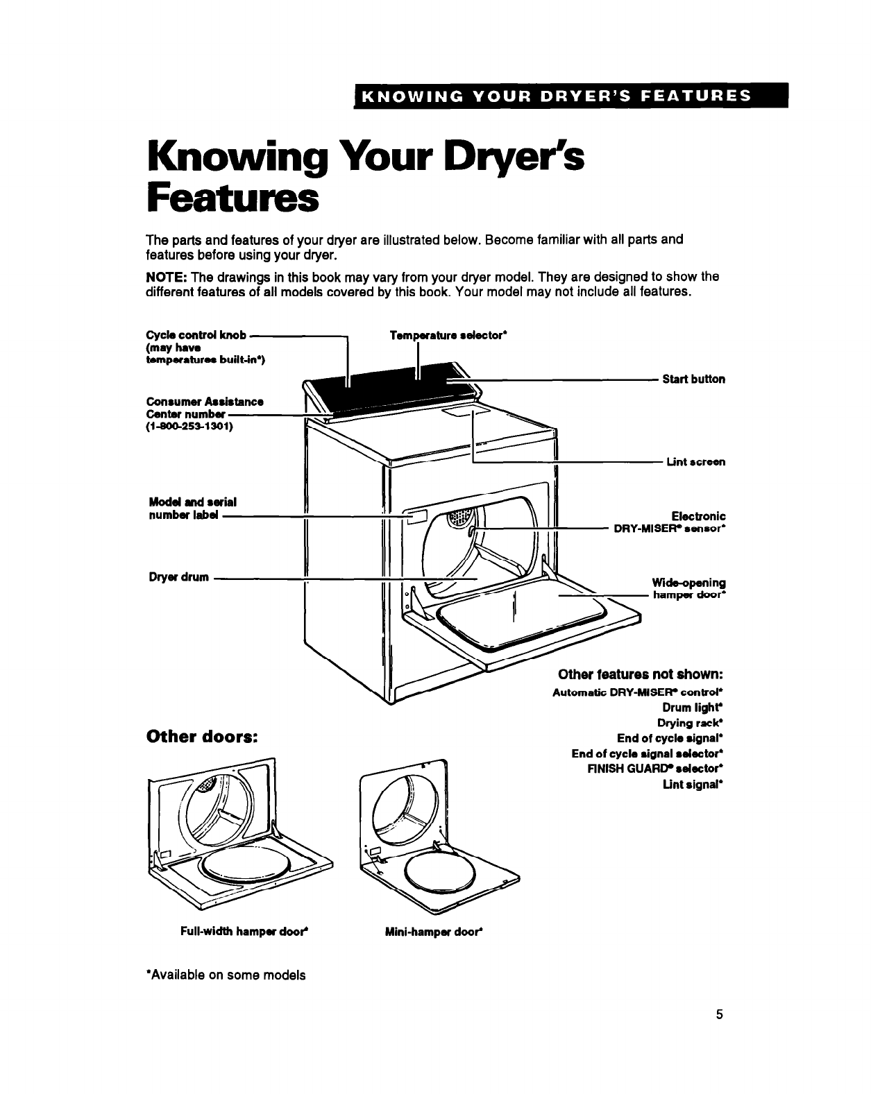 Page 5 of Whirlpool Clothes Dryer DRYERS User Guide