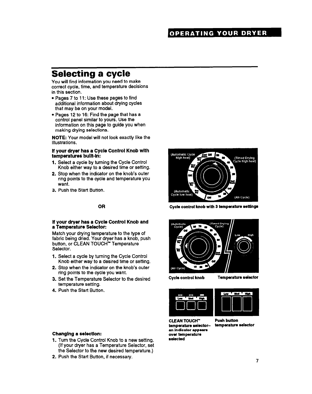 Page 7 of Whirlpool Clothes Dryer DRYERS User Guide