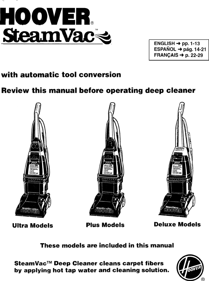 Hoover Carpet Cleaner Deluxe User Guide Manualsonline Com