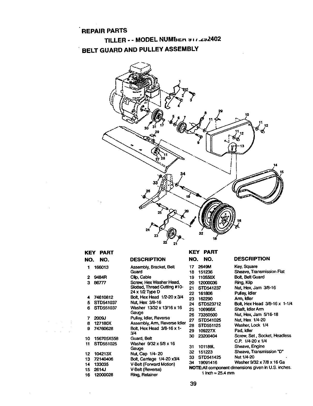 Page 20 of Craftsman Tiller 917.292402 User Guide