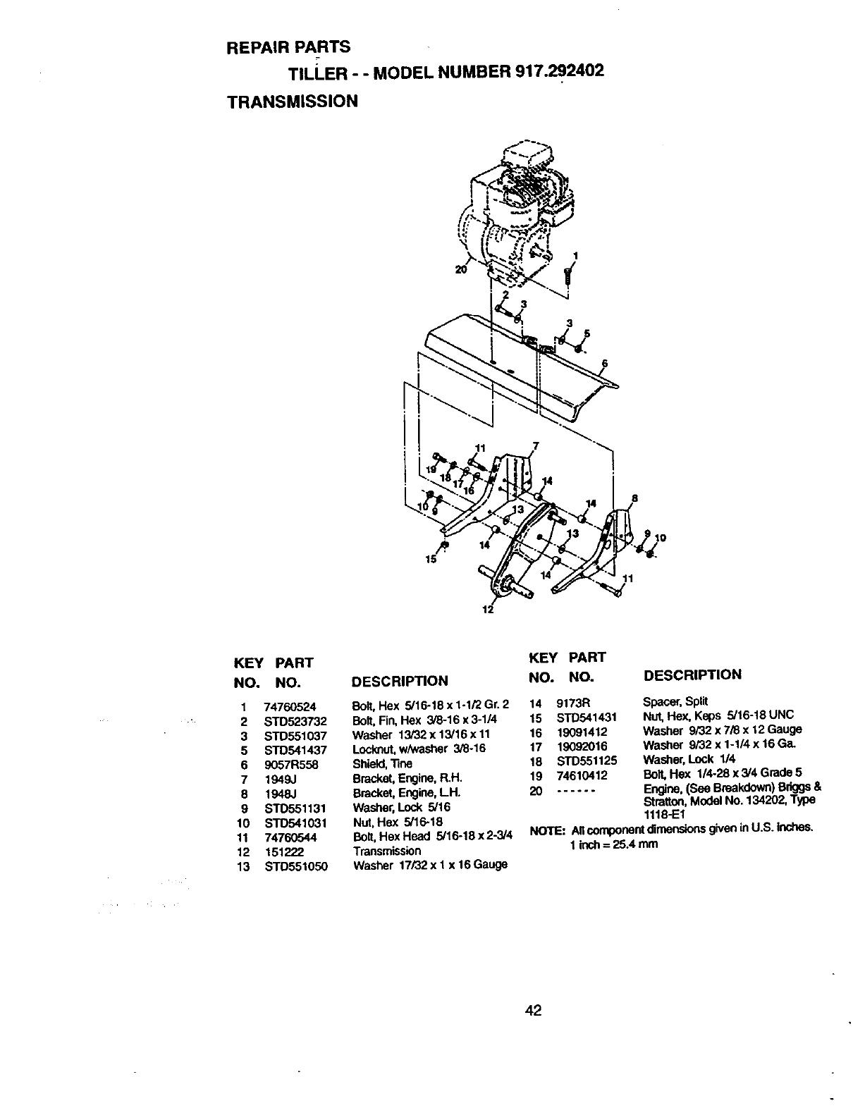 Page 23 of Craftsman Tiller 917.292402 User Guide