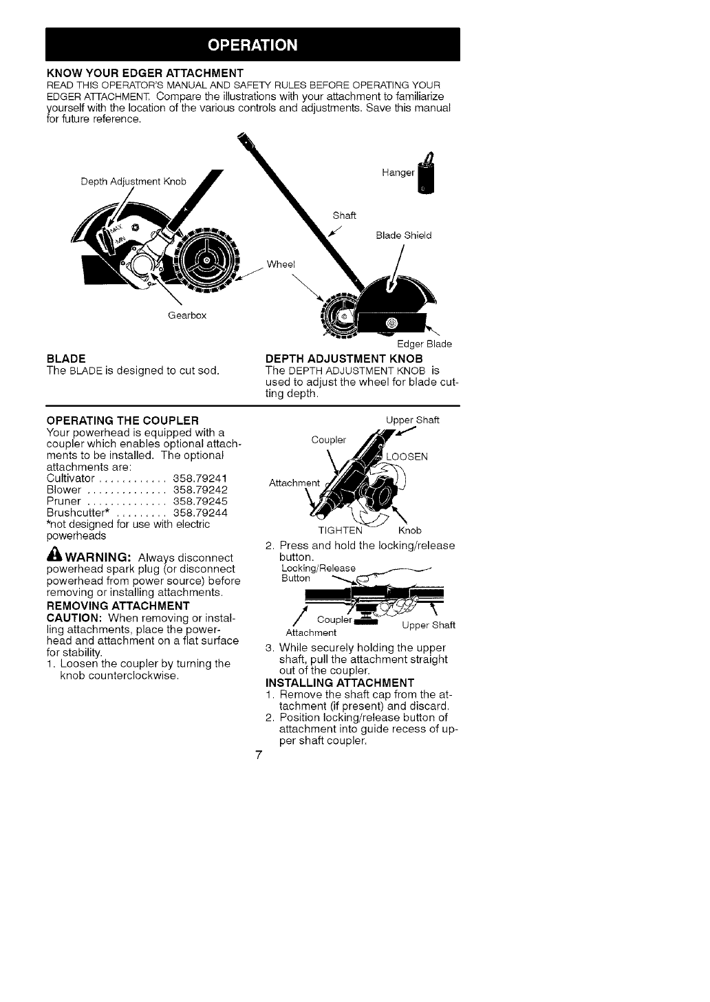Page 7 of Craftsman Lawn Mower Accessory 358.792403 User