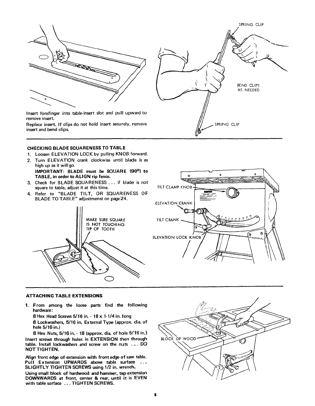 Page 8 of Craftsman Saw 113.24181 User Guide