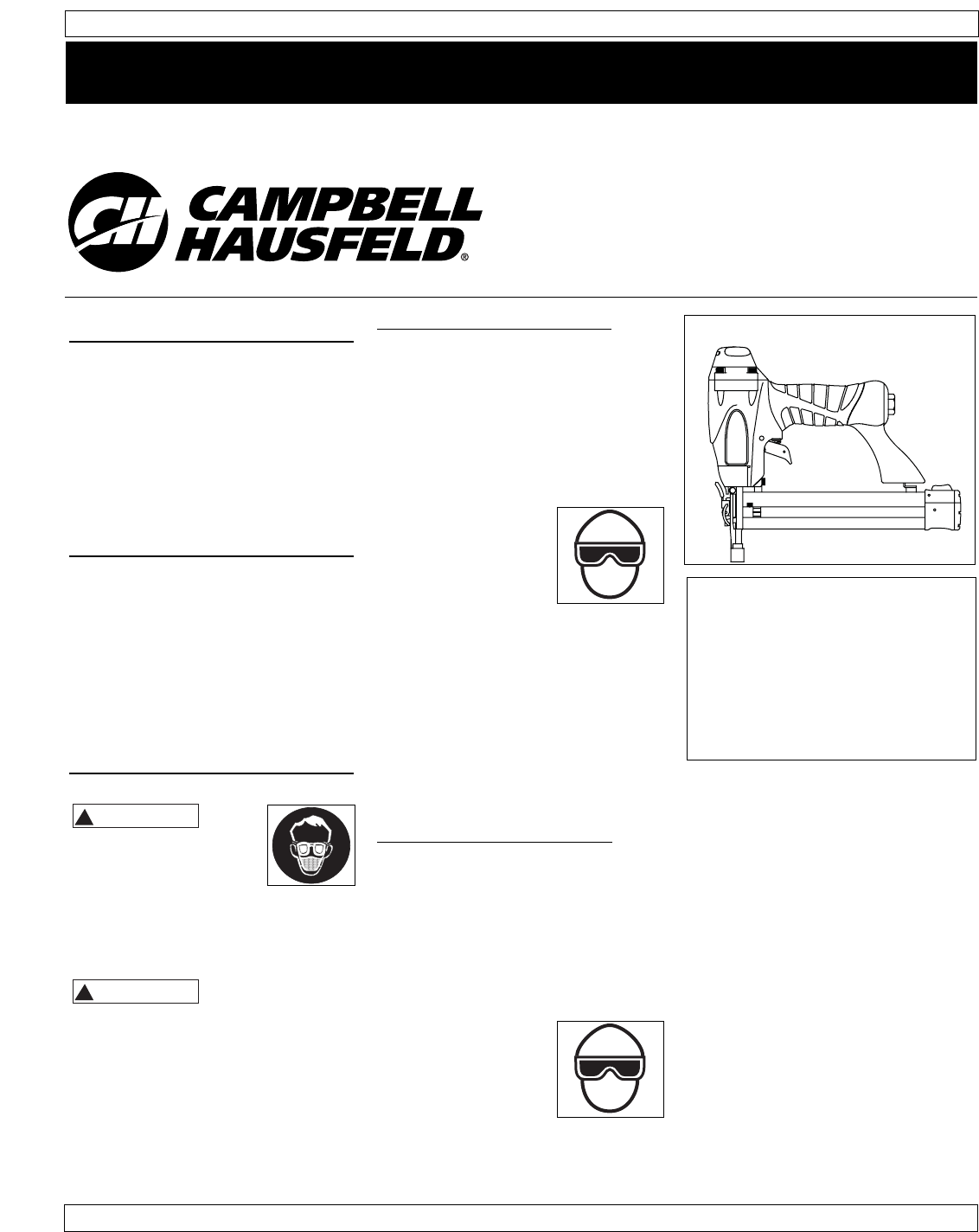 Campbell Hausfeld Staple Gun CHN10302 User Guide