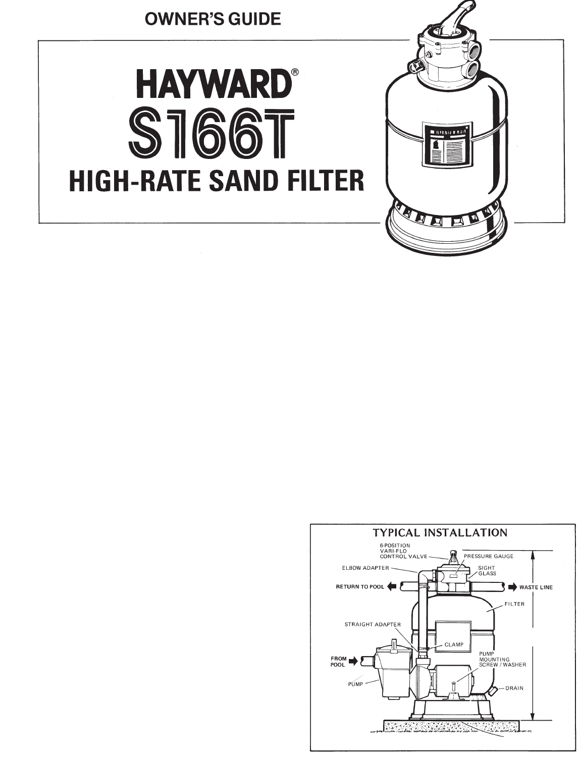 Hayward Pools Swimming Pool Filter S166T User Guide