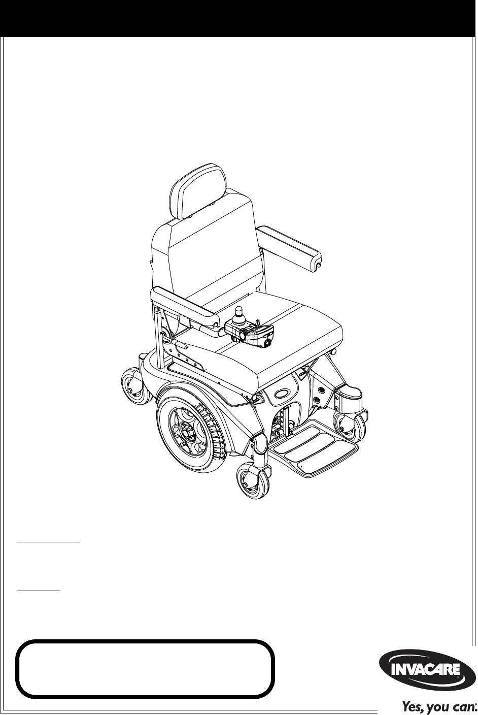 Invacare Mobility Aid Pronto M71 User Guide
