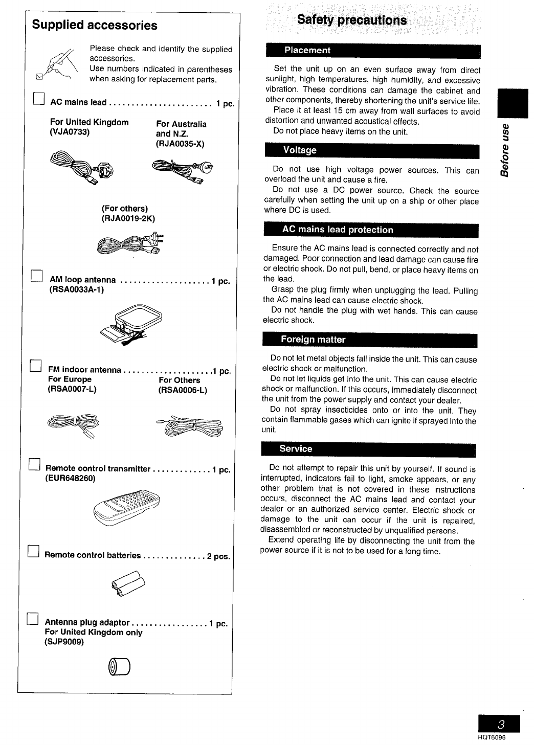 Page 3 of Panasonic Stereo System SC-PM07 User Guide