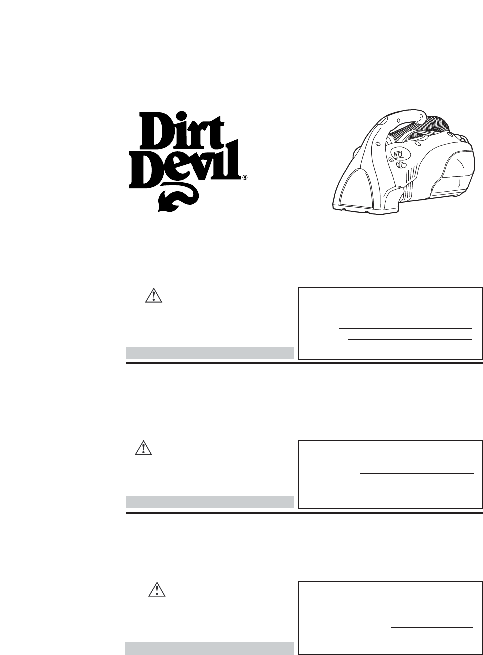 Dirt Devil Vacuum Cleaner Hand Vac User Guide