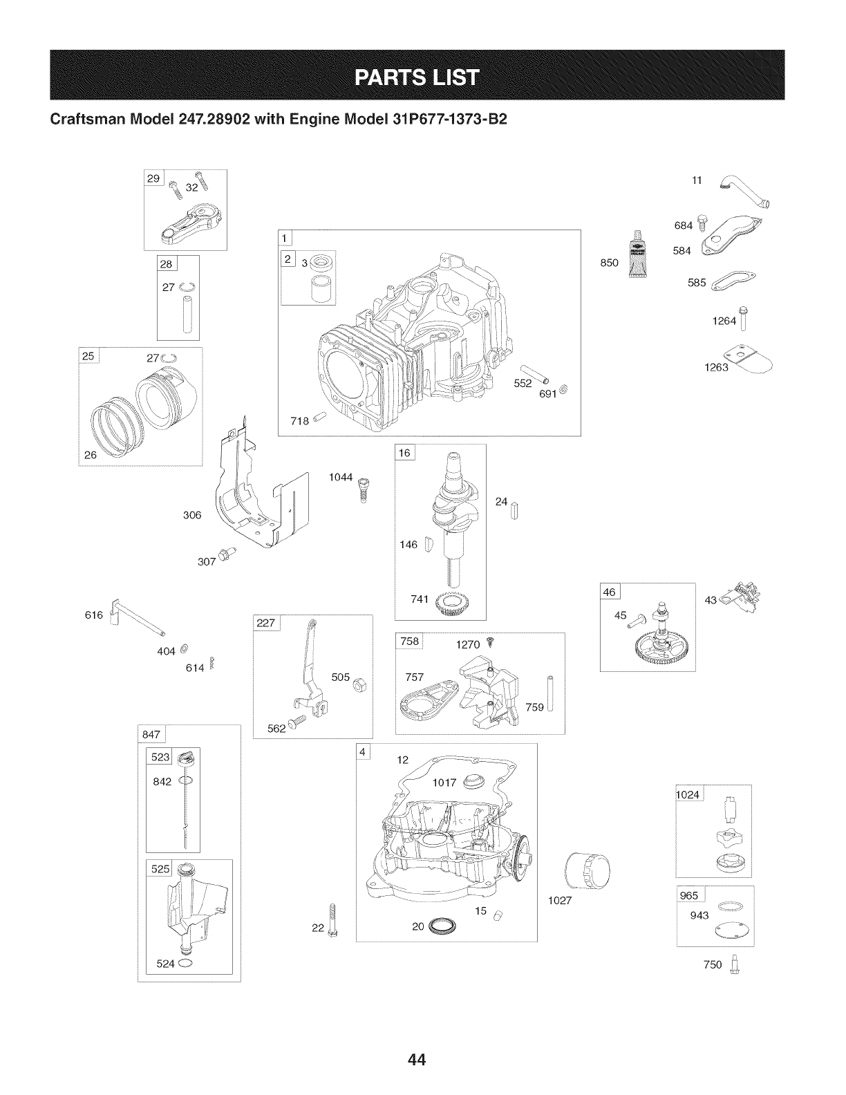 Page 44 of Craftsman Lawn Mower 247.28902 User Guide