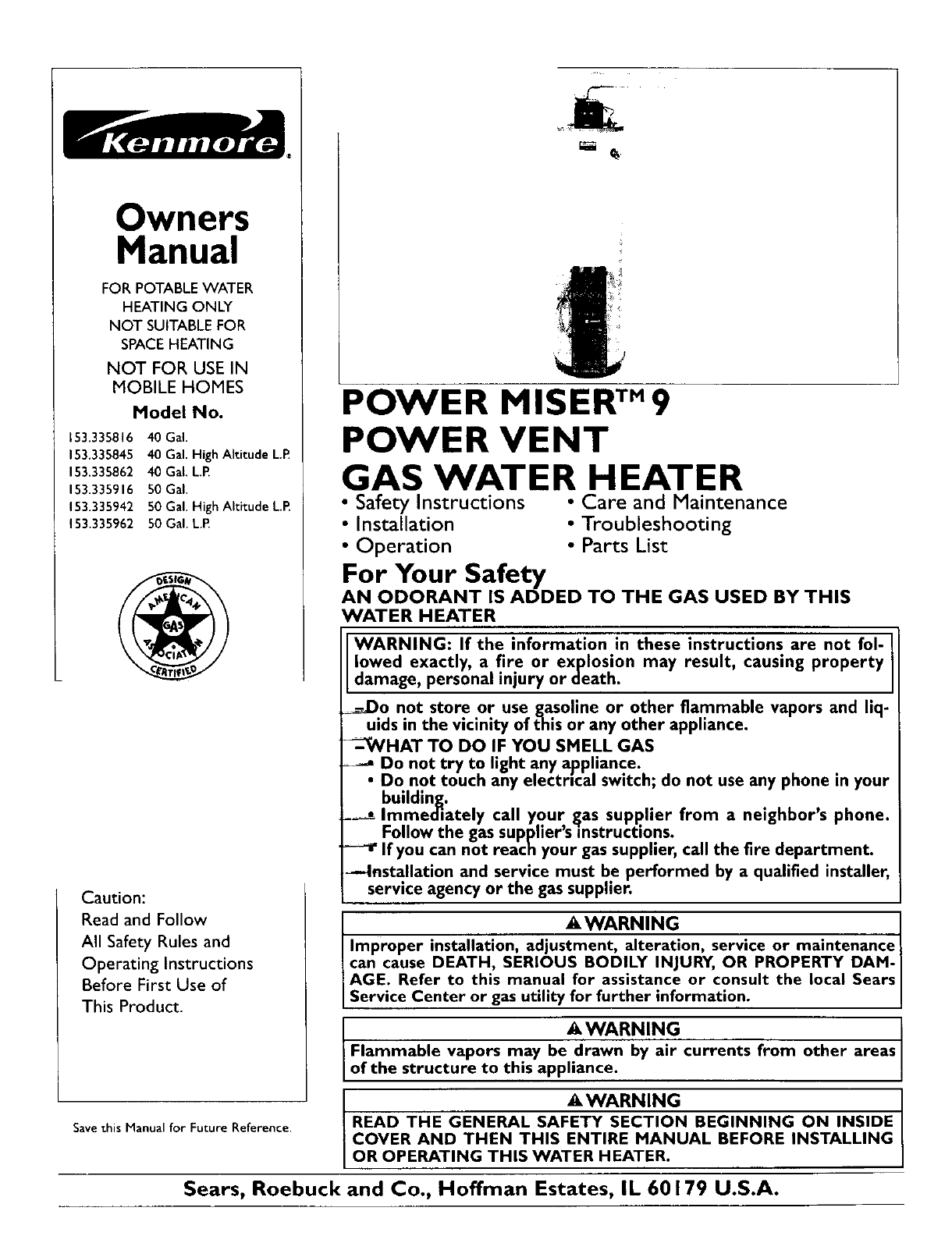 Kenmore Water Heater L53 User Guide