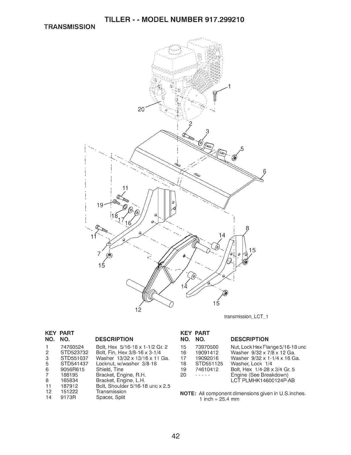 Page 42 of Craftsman Tiller 917.29921 User Guide