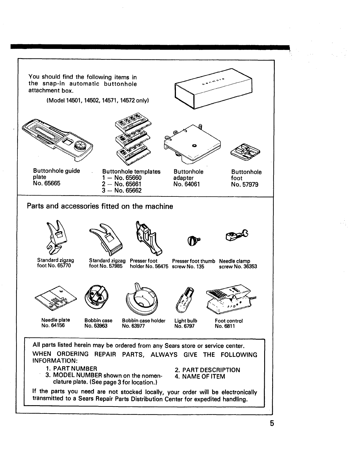 Page 7 of Kenmore Sewing Machine 14502 User Guide