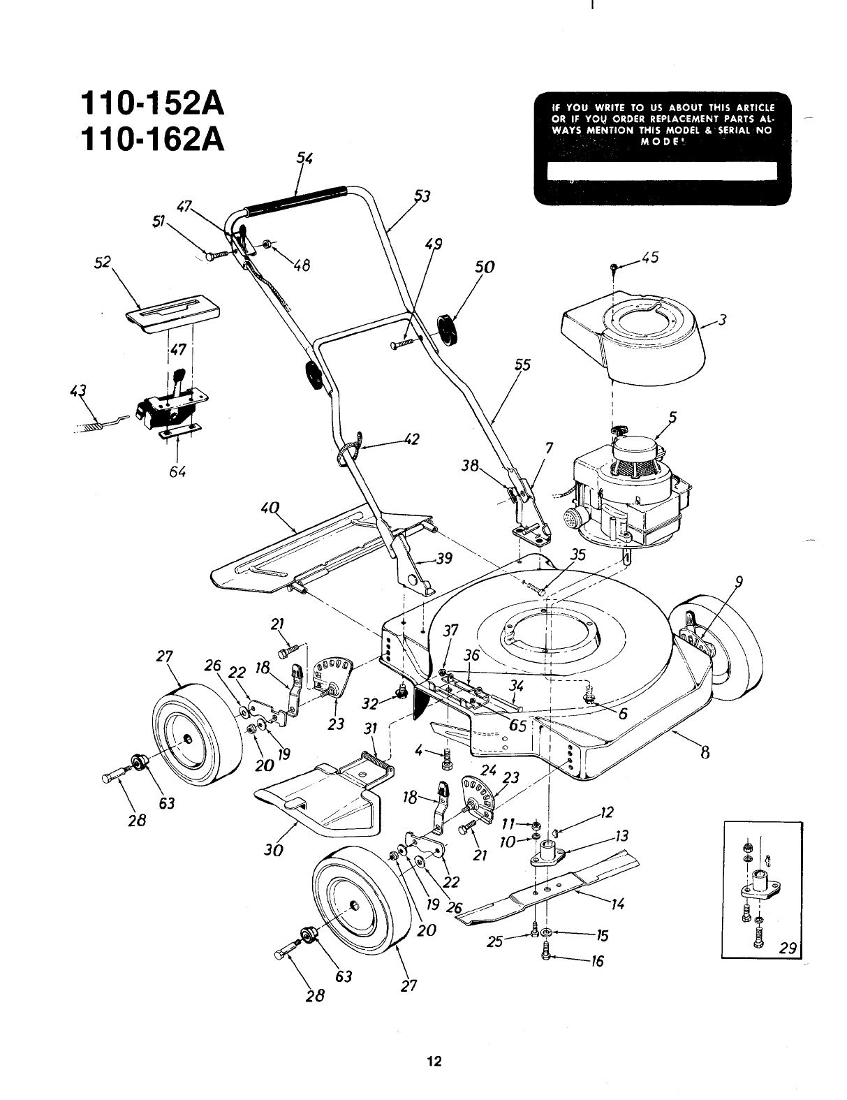 Page 12 of MTD Lawn Mower 110-162A User Guide