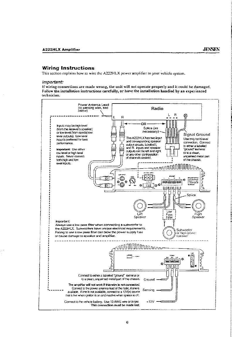 Page 6 of Jensen Stereo Amplifier A222HLX User Guide