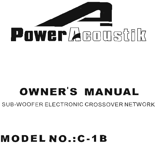 Power Acoustik Car Stereo System C 1b User Guide