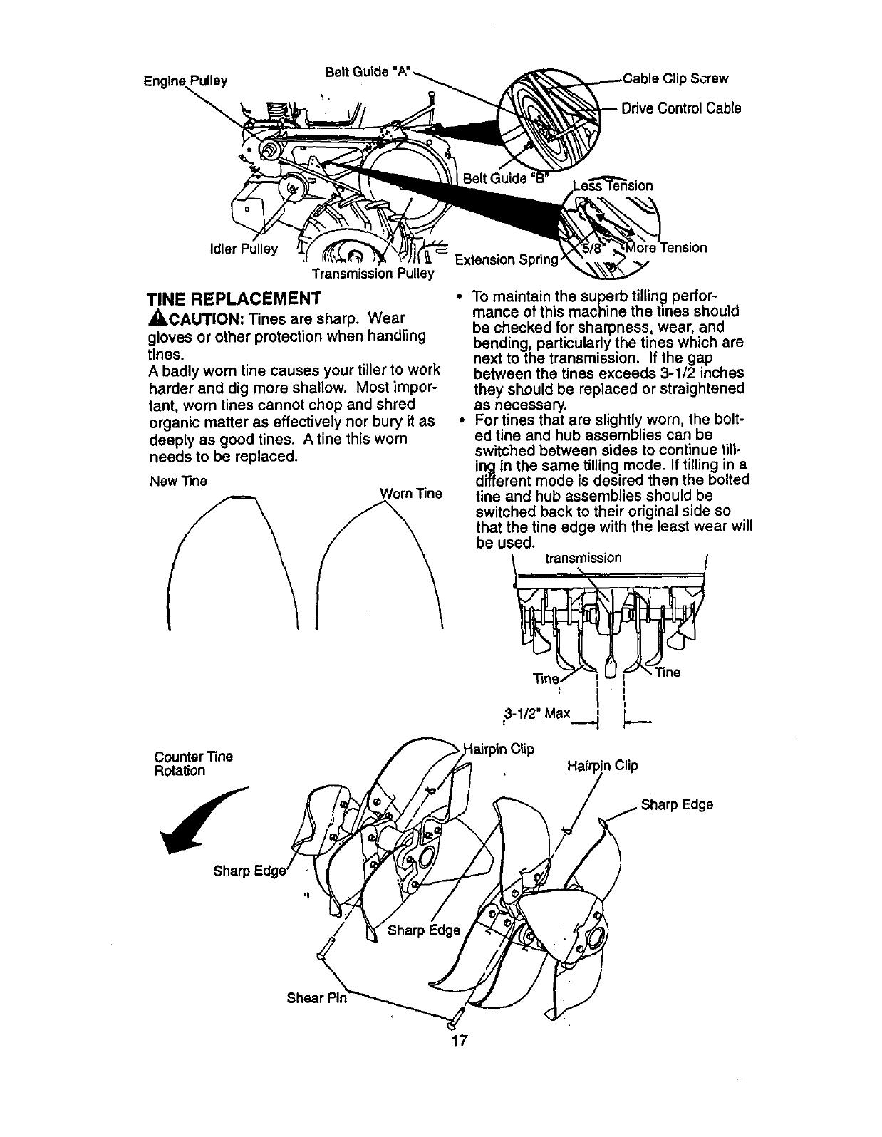 Page 17 of Craftsman Tiller 917.29332 User Guide