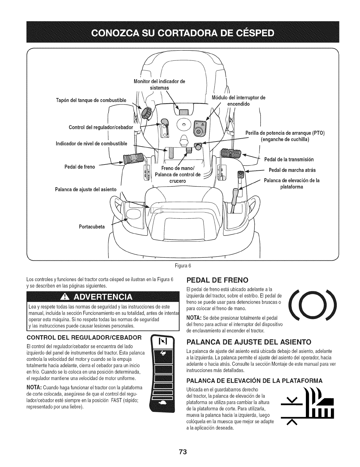 Page 73 of Craftsman Lawn Mower PYT 9000 User Guide
