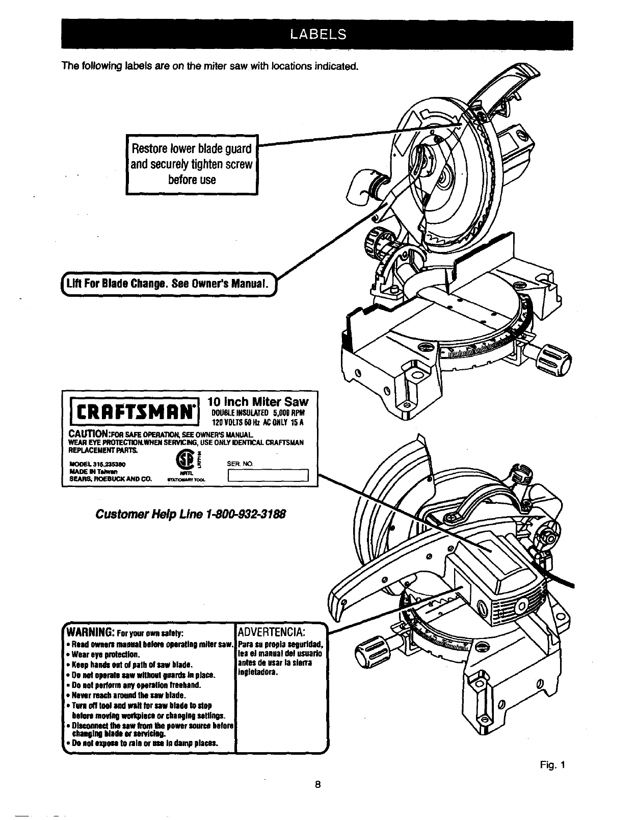 Page 8 of Craftsman Saw 315.23538 User Guide
