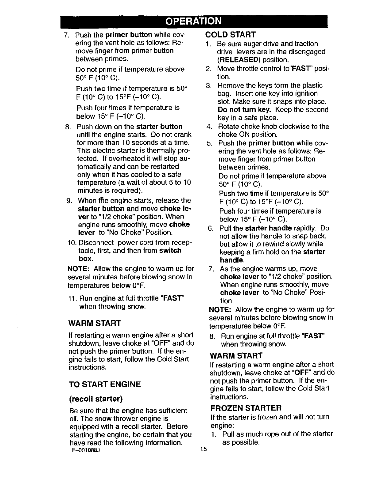 Page 15 of Craftsman Snow Blower 536.88626 User Guide