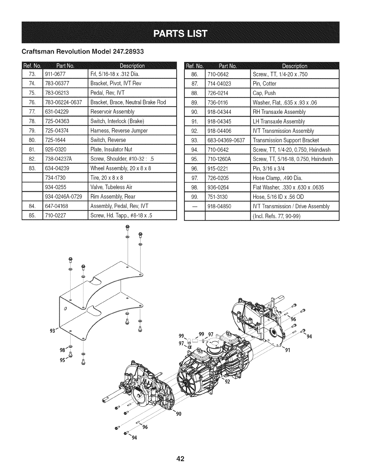 Page 42 of Craftsman Lawn Mower 247.28933 User Guide