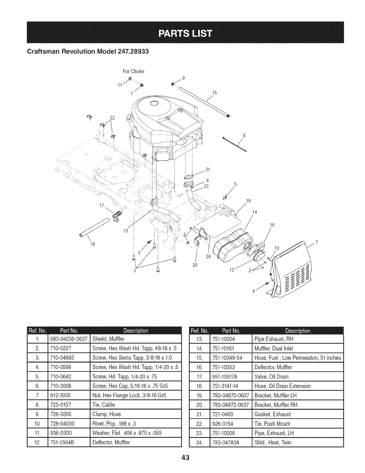 Page 43 of Craftsman Lawn Mower 247.28933 User Guide