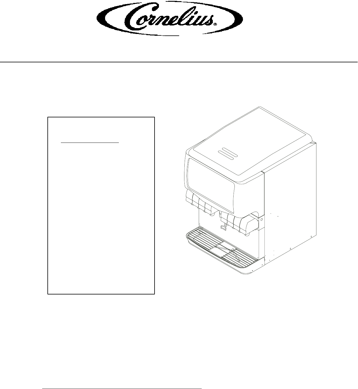Cornelius Beverage Dispenser 175 8 Valve User Guide