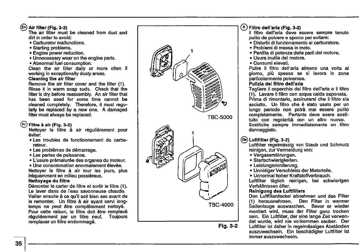 Page 38 of Tanaka Trimmer TBC-4000 User Guide