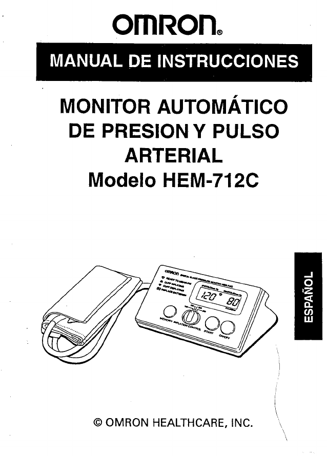 Omron Blood Pressure Monitor HEM712C User Guide