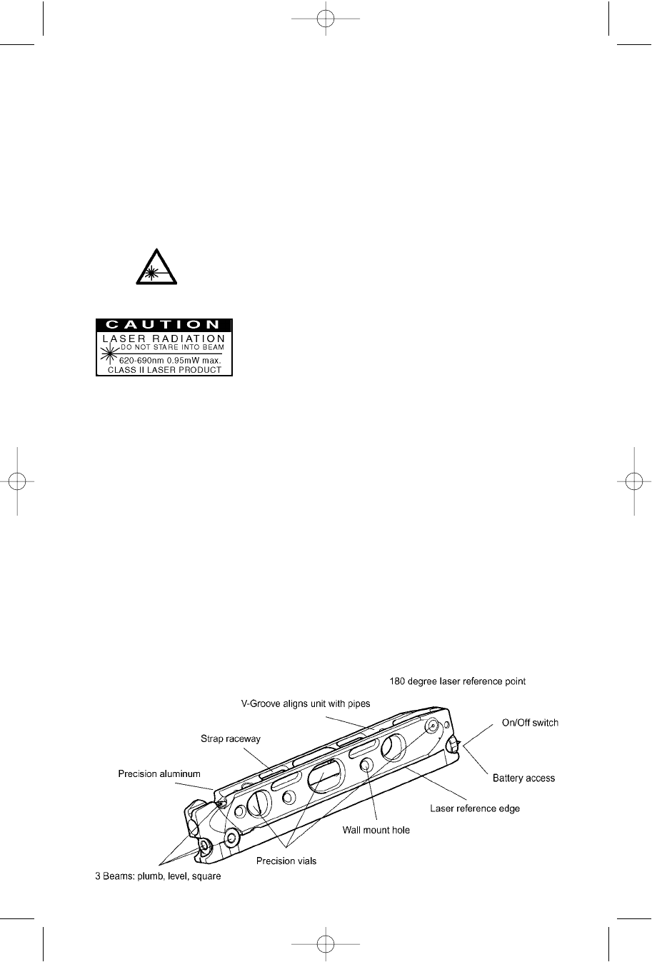 Page 3 of Porter-Cable Laser Level LL3100 User Guide