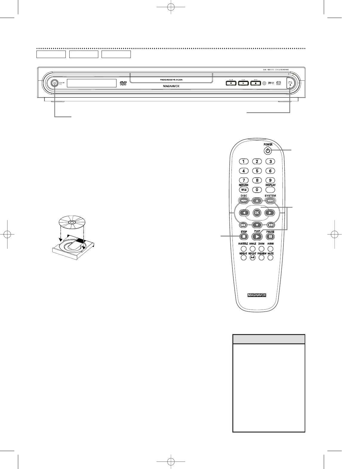 Page 16 of Magnavox DVD Player MDV455 User Guide