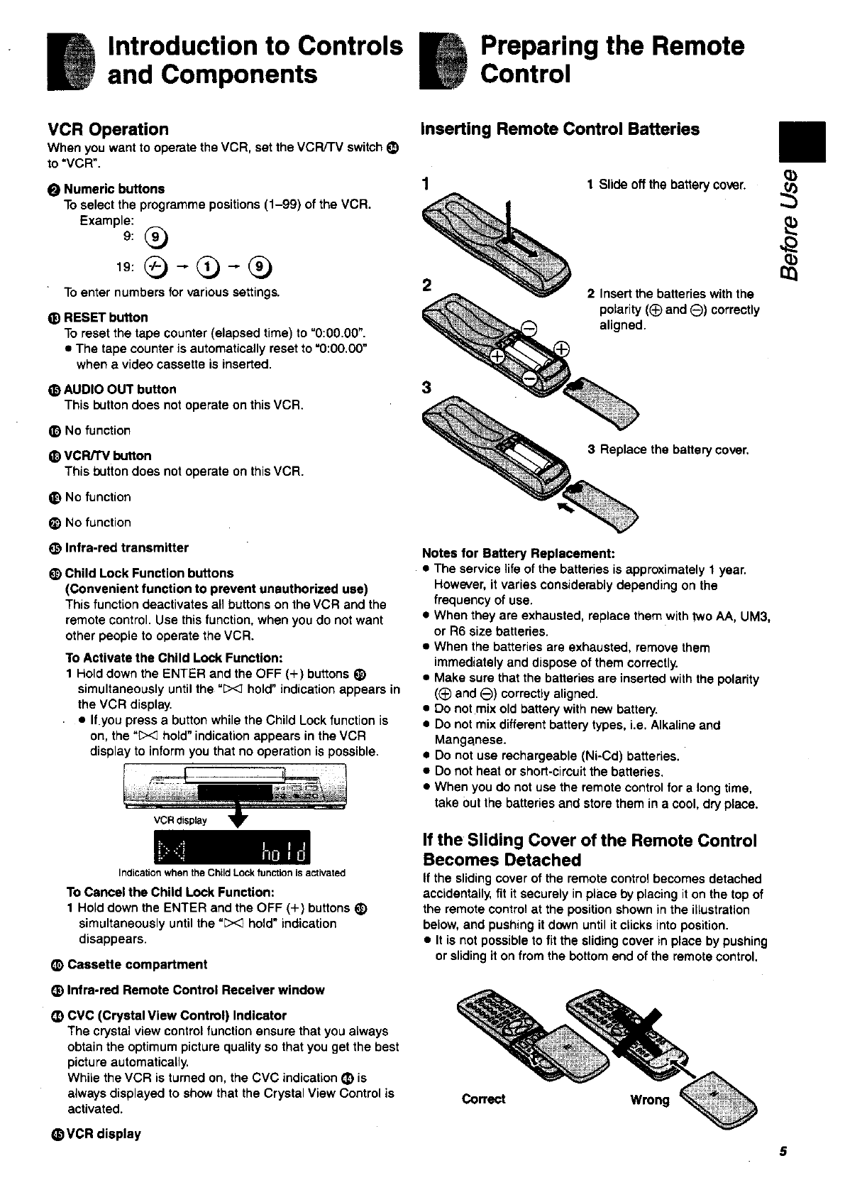 Page 5 of Panasonic VCR NV-SJ200 User Guide