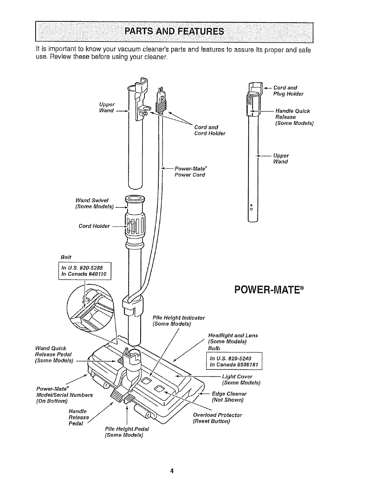 Page 4 of Kenmore Vacuum Cleaner 116.21513 User Guide