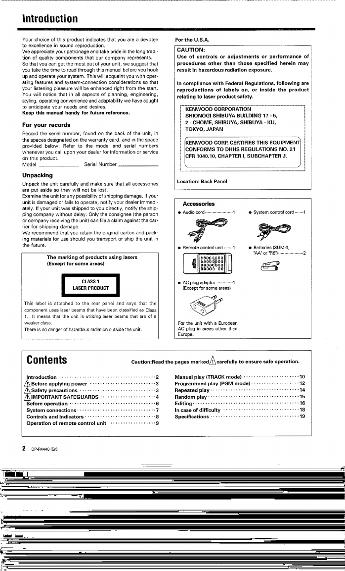 Page 2 of Kenwood CD Player DP-R4440 User Guide