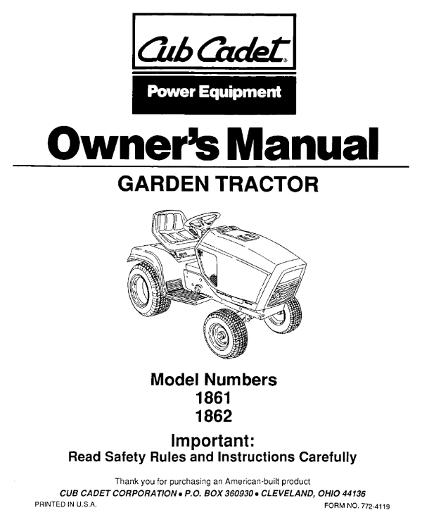 Bolens Lawn Mower 1862 User Guide - Year of Clean Water on