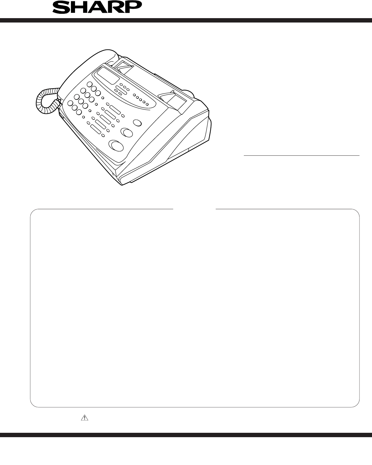 Sharp Fax Machine Ux 258th User Guide