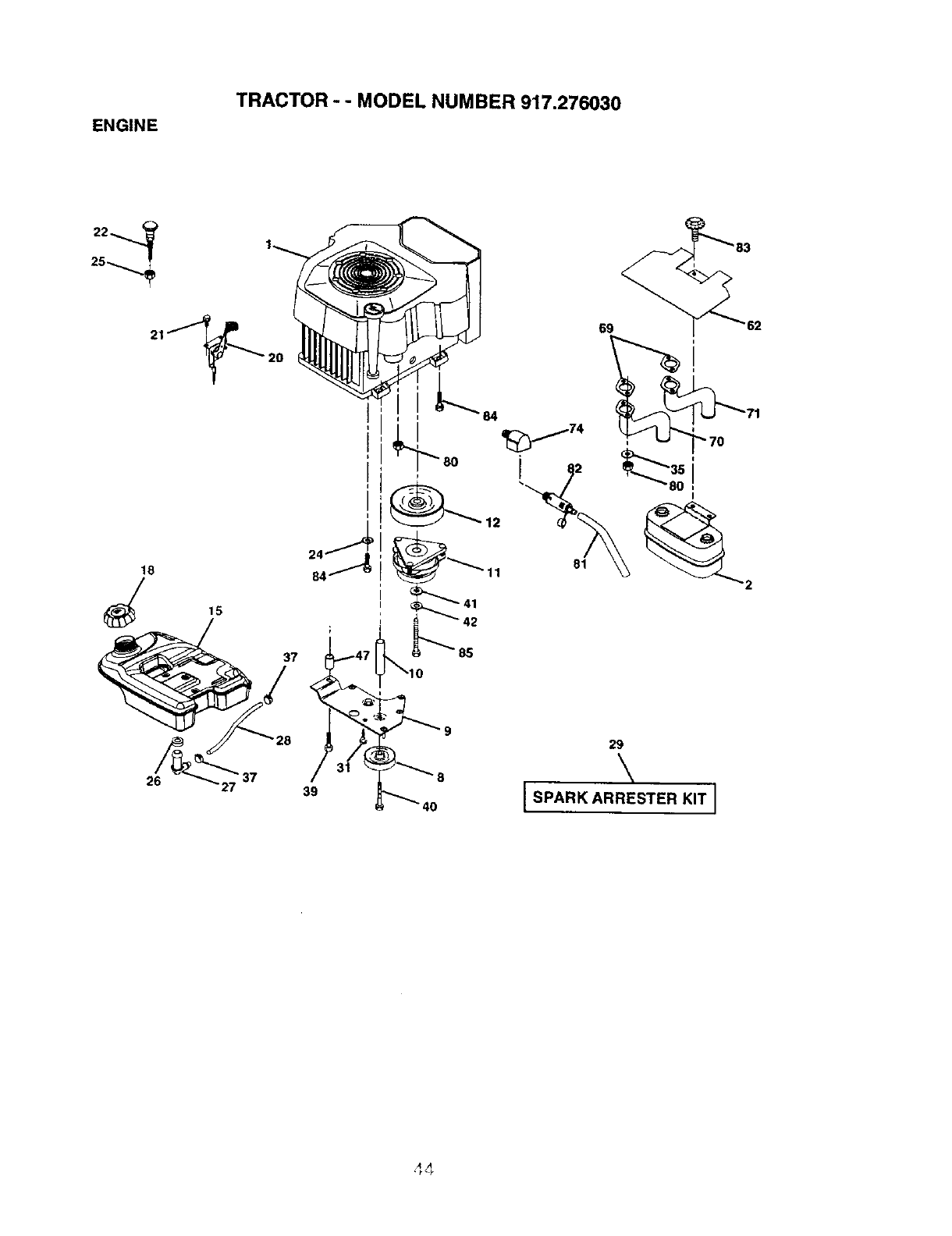 Page 44 of Craftsman Lawn Mower 917.27603 User Guide