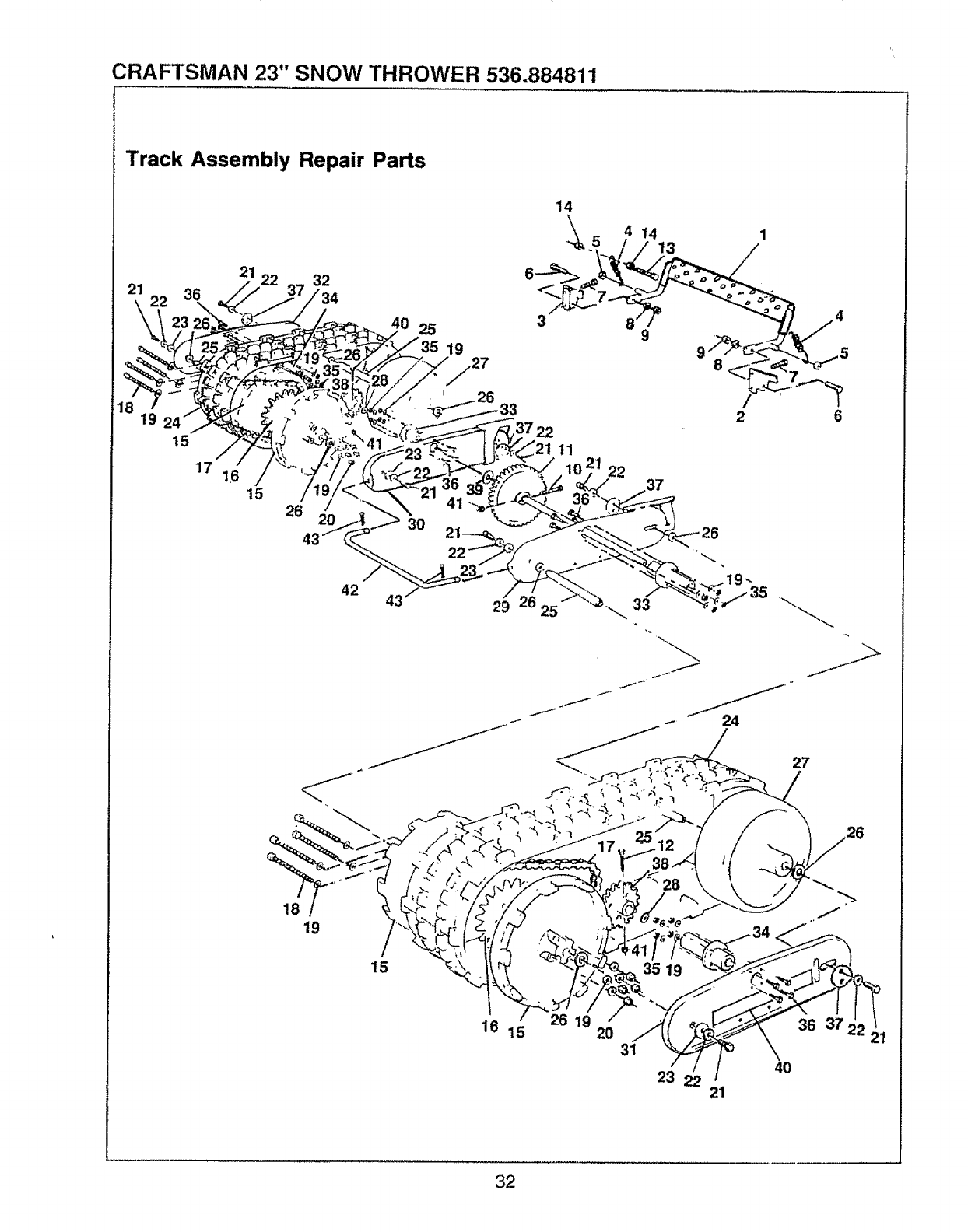 Page 32 of Sears Snow Blower 536.884811 User Guide
