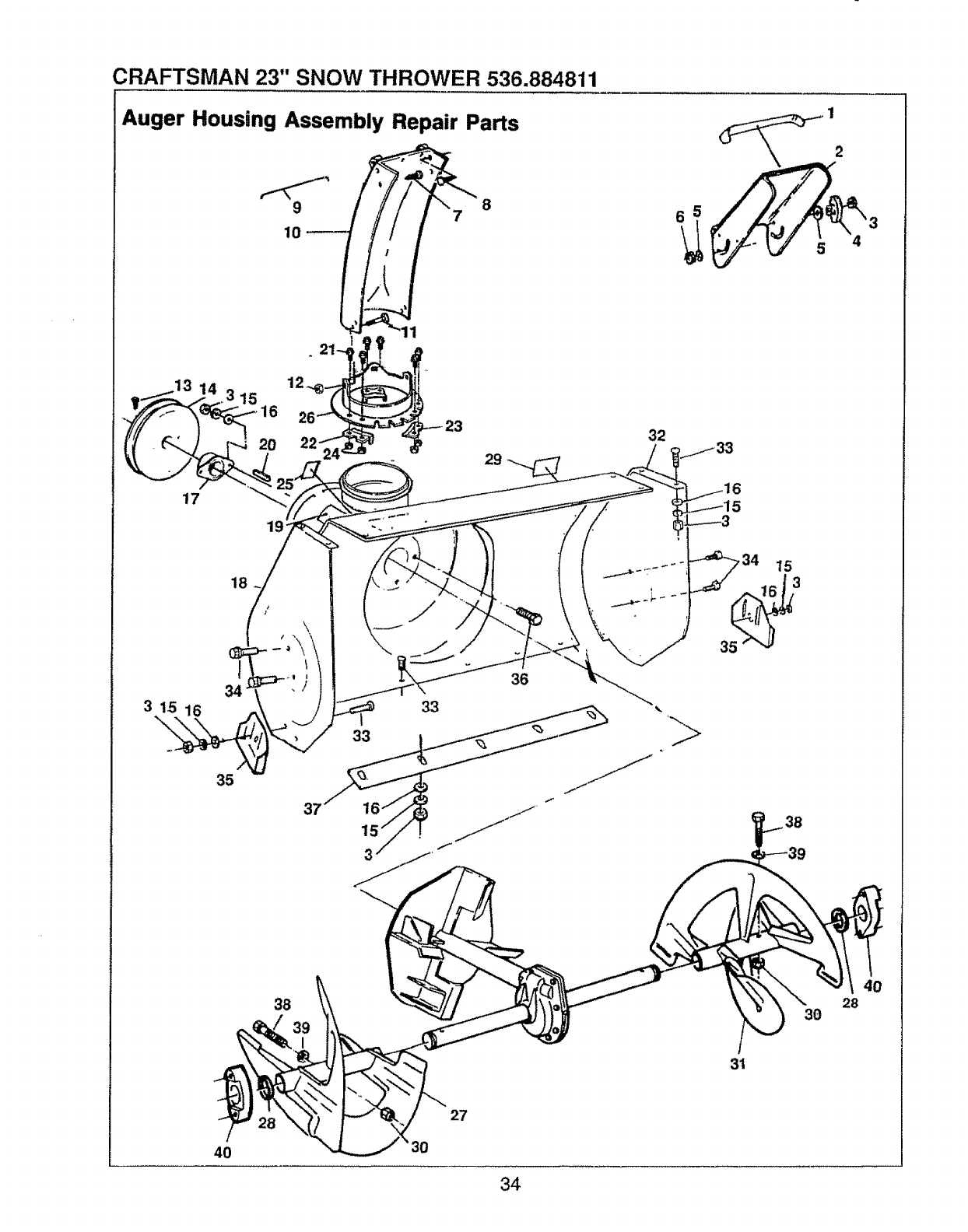 Page 34 of Sears Snow Blower 536.884811 User Guide