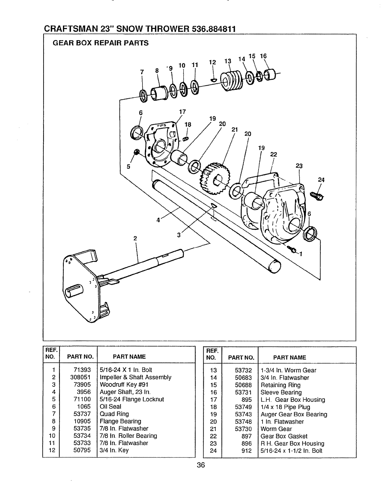 Page 36 of Sears Snow Blower 536.884811 User Guide