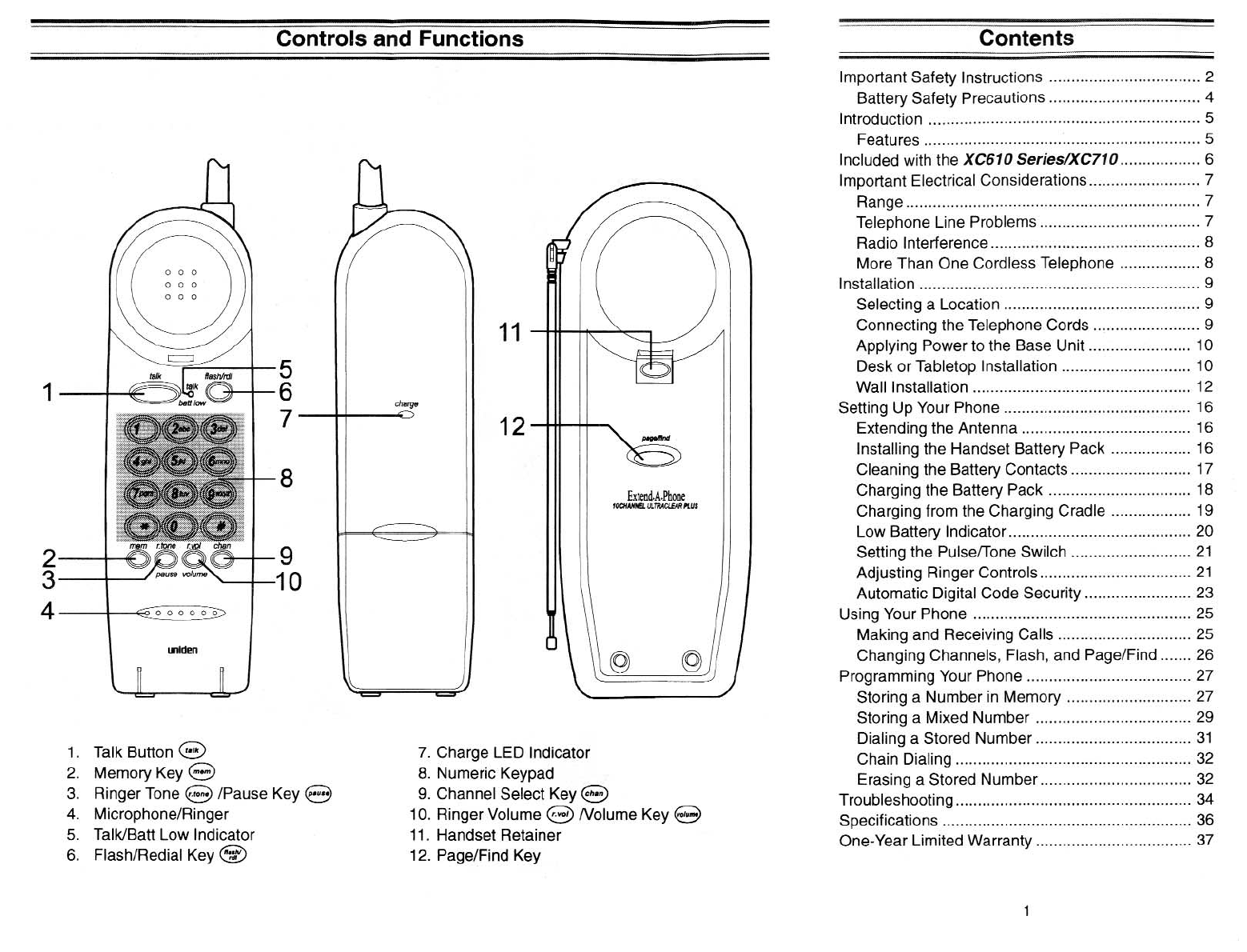 Page 2 of Uniden Cordless Telephone XC610 Series User
