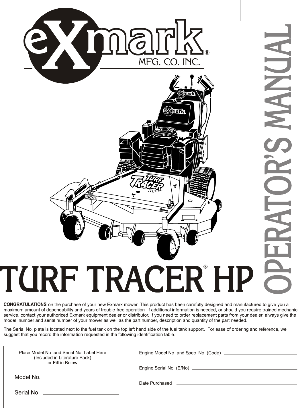 Exmark Lawn Mower Turf Tracer HP User Guide