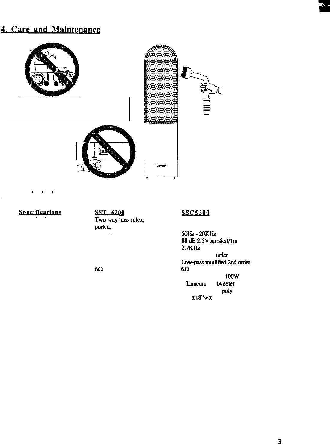 Page 4 of Toshiba Speaker SST6200 User Guide