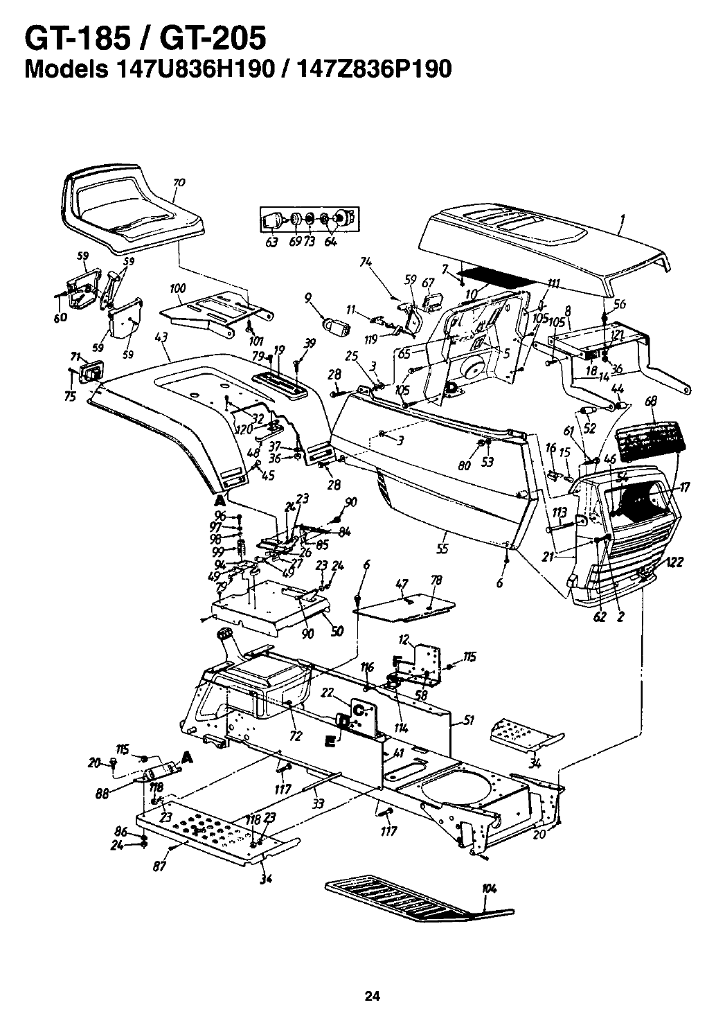 Page 24 of MTD Lawn Mower GT-205 User Guide