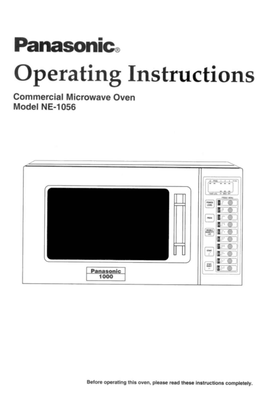 Panasonic Microwave Oven NE-1056 User Guide